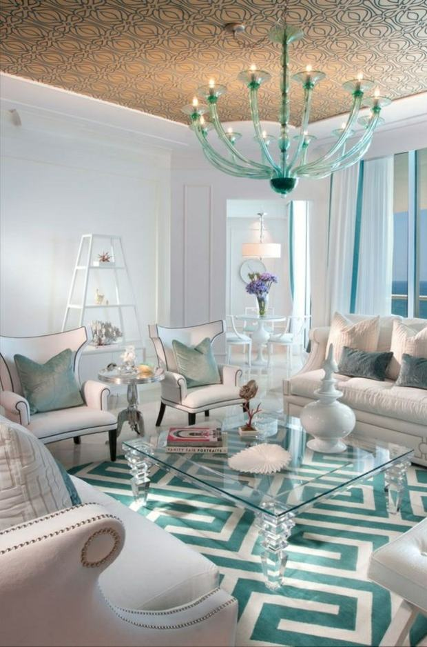 table verre laisse paraître motifs zig zag tapis turquoise blanc