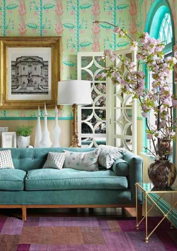 turquoise et mauve au coeur salon extravagant