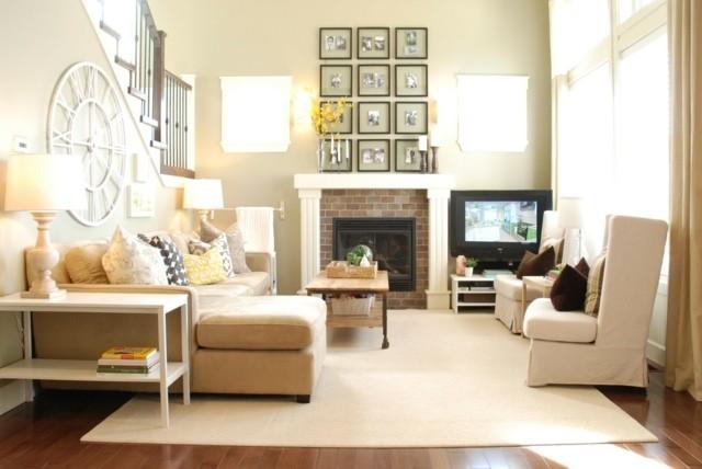 Salon beige accents couleurs espace chaleureux convivial