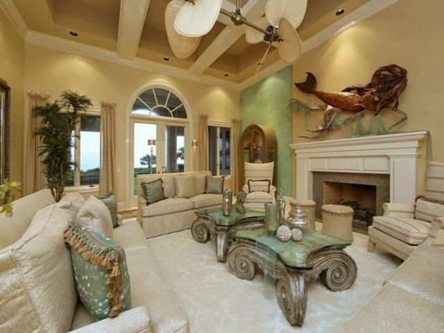 Turquoise et beige font jolie combinaison déco salon oriental