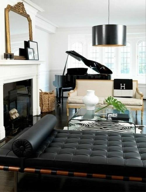 salon-chic-moderne-canape-piano-noir - Decoration Salon !