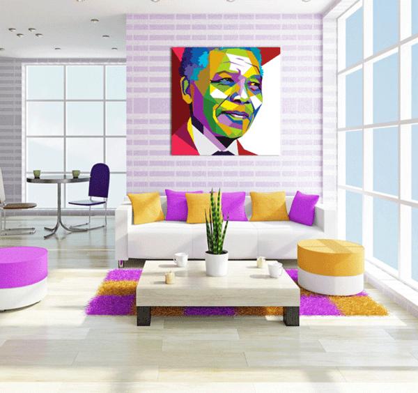 Nelson Mandela au mur du salon