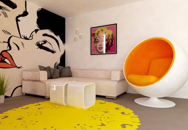 Salon moderne en Pop Art