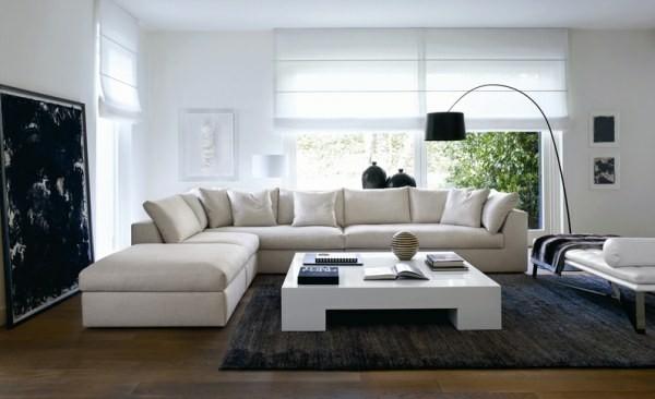 canapé d'angle convertible blanc salon