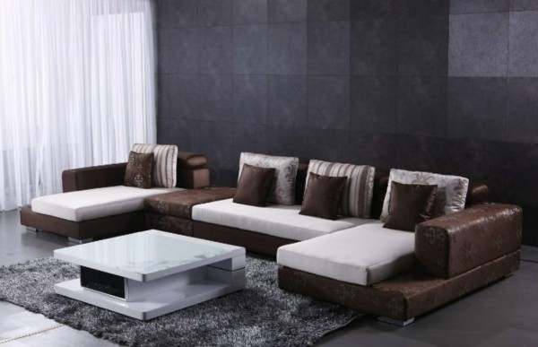 canape design original beige marron