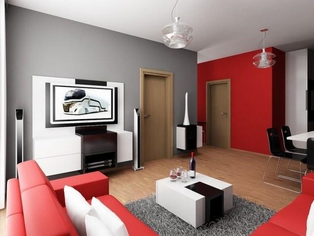 Salon Moderne Déco Salon Couleur Rouge Idée Originale Mur Canapé