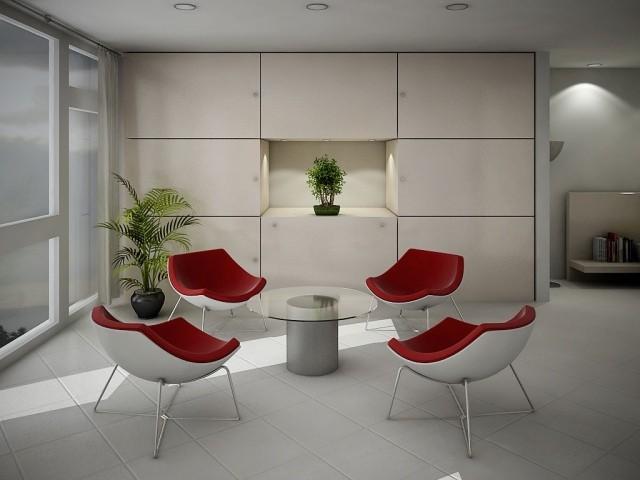 double-table-basse-en-verre-forme-ronde-chaises-blanc-rouge