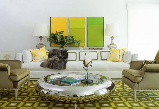 salle-séjour-couleurs-fraîches-accents-muraux-verts-tapis-carreaux-jaunes-coussins-motifs-jaunes idées salle de séjour