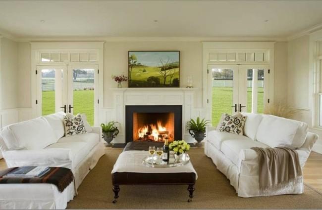 salle-séjour-couleurs-fraîches-canapés-blancs-plantes-tableau-paysage-vert idées salle de séjour