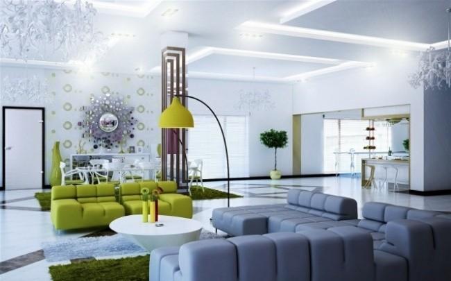 salle-séjour-couleurs-fraîches-canapés-verts-tapis-verts-lampe-poser-canapé-blanc idées salle de séjour