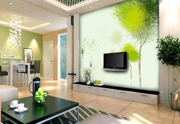 salle-séjour-couleurs-fraîches-déco-murale-vert-arbre-décoratif idées salle de séjour
