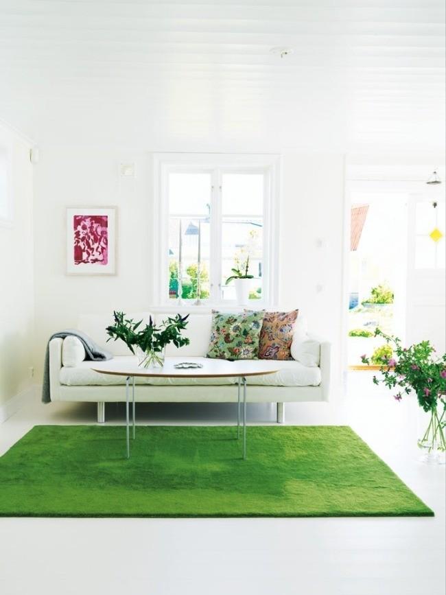 salle-séjour-couleurs-fraîches-tapis-vert-élégant-coussins-motifs-plantes-vertes idées salle de séjour