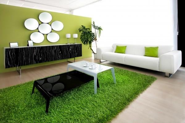 salle-séjour-couleurs-fraîches-tapis-vert-herbe-canapé-blanc-coussins-verts idées salle de séjour