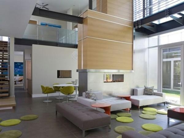 salon espace ouvert gris vert