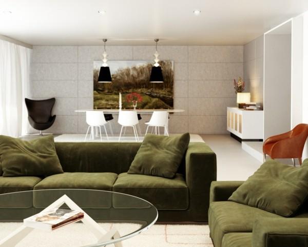 salon moderne gris vert idee