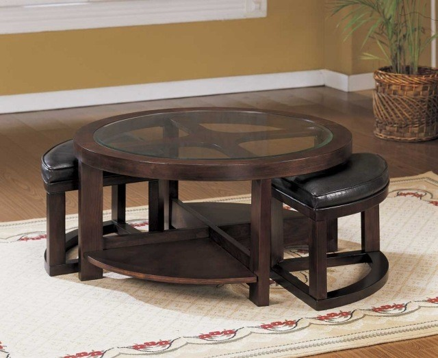 table-basse-en-verre-bois-forme-ronde-idée-originale-salon