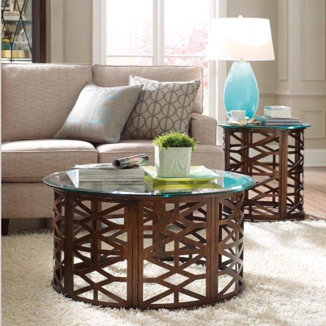 table basse en verre idée-originale-salon-bois-grille