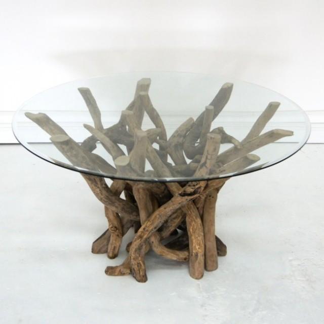 table basse en verre idée-originale-salon-bois