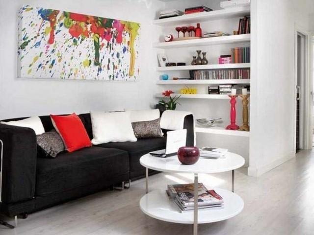 table basse ronde idée-originale-couleur-blanche-espace-rangement