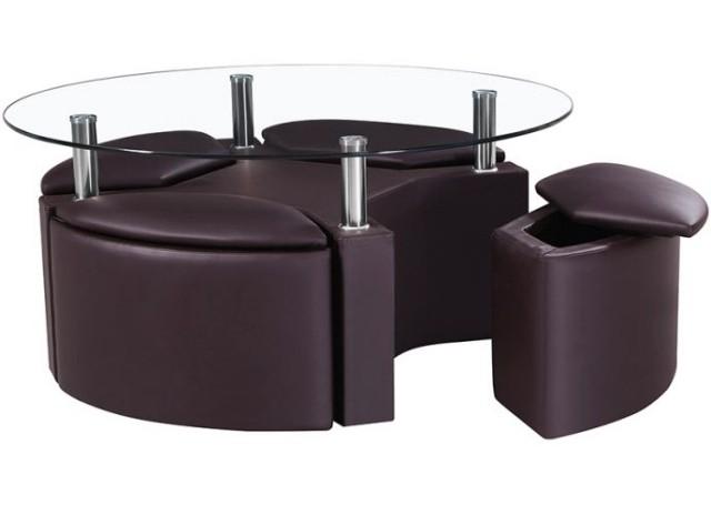 table-basse-ronde-idée-originale-espace-rangement-cuir-verre