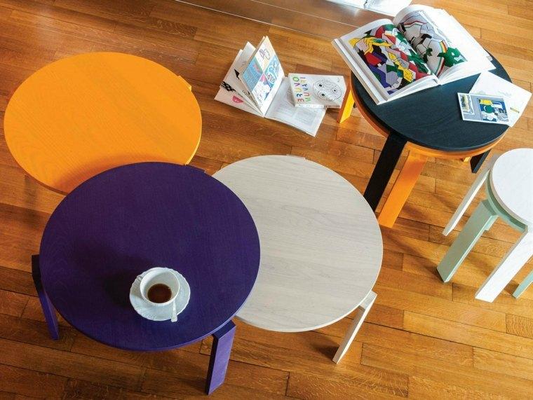 table basse ronde et compacte design moderne
