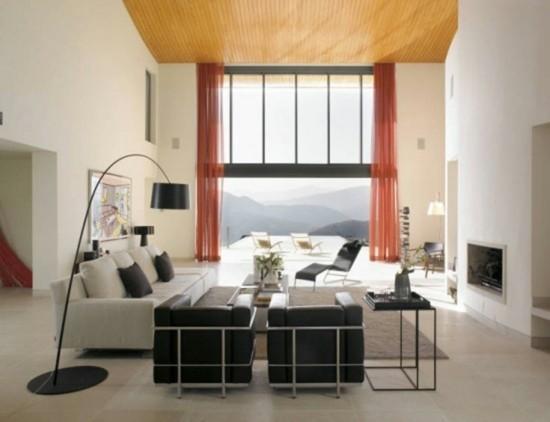 ameublement salon moderne meubles noir blanc