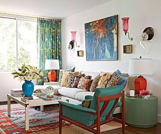 decoration salon style eclectique