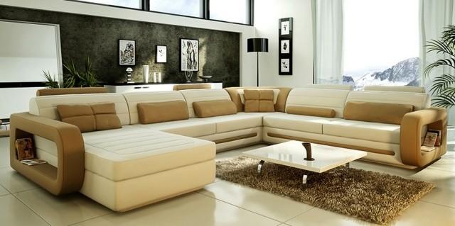 meubles-contemporains-idée-originale-canapé-méridien-couleur-marron-blanc