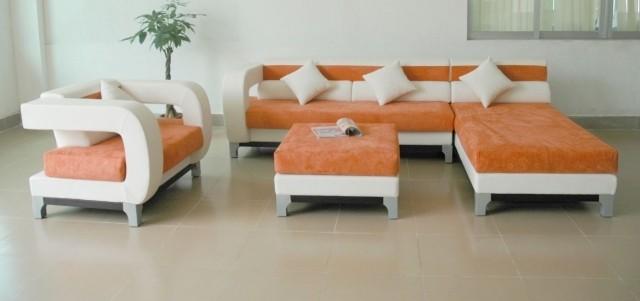 meubles-contemporains-idée-originale-canapé-orange-blanc