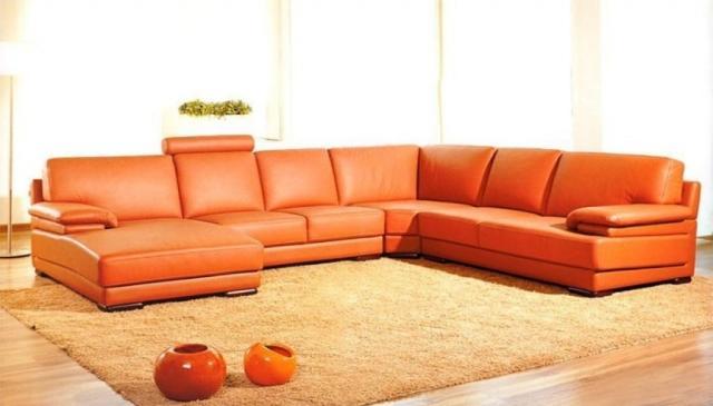 meubles-contemporains-idée-originale-canapé-orange