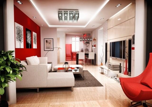 meubles-contemporains-idée-originale-chaise-rouge-canapé-blanc