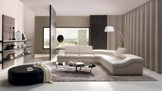 petite-table-salon-ovale-verre-noir-mobileir-blanc table de salon
