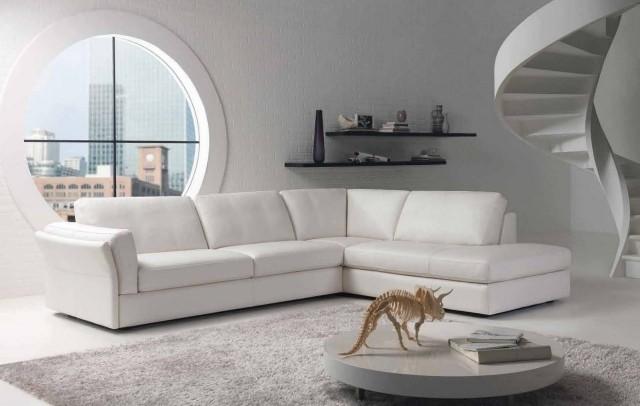petite-table-salon-ronde-basse-blanche-canapé-angle-blanc-moderne table de salon