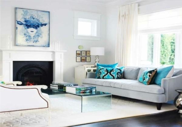 salon moderne avec cheminée classique