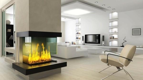 salon moderne decor blanc marque cheminée design