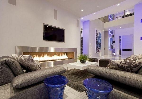 salon ultra moderne avec cheminée éthanol