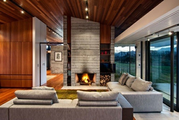 superbe salle de séjour avec cheminée béton