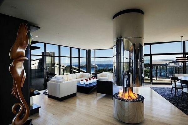 superbe salon contemporain avec cheminée tendance