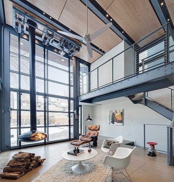 superbe salon style industriel cheminée suspendue