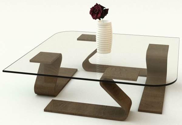 table deco verre bois