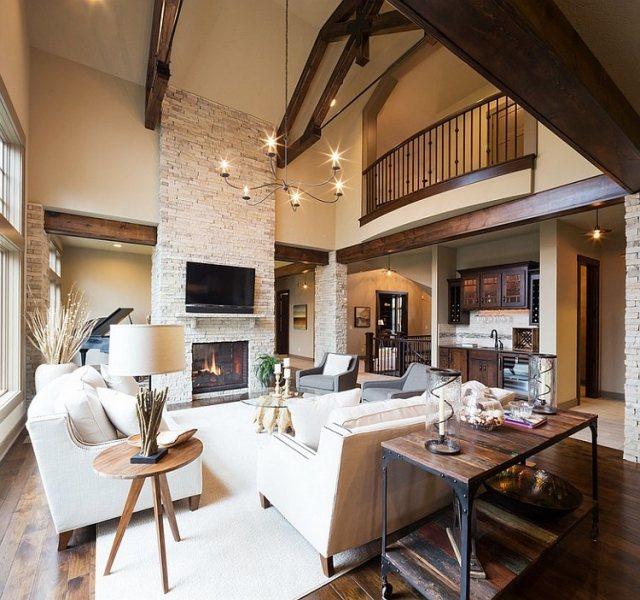 déco-salon-rustique-lustre-fer-forgé-canapé-fauteuil-blanc-gris-table-bois-cheminée déco salon rustique