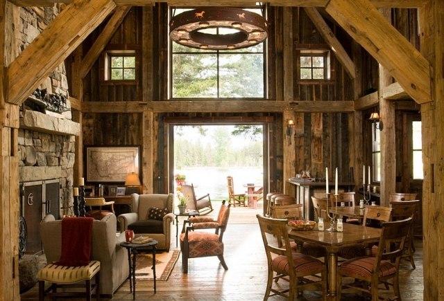 salon rustique lustre idée table en bois salon moderne