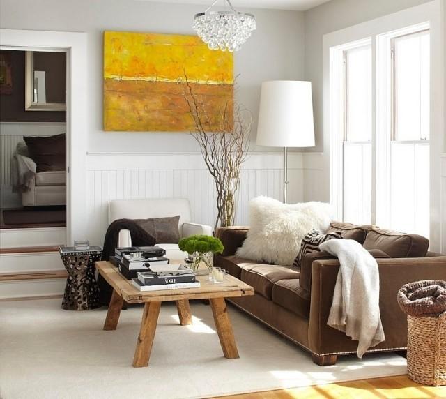 déco-salon-rustique-moderne-canapé-marron-fauteul-blanc-ampe-sol-blanche-table-basse-bois