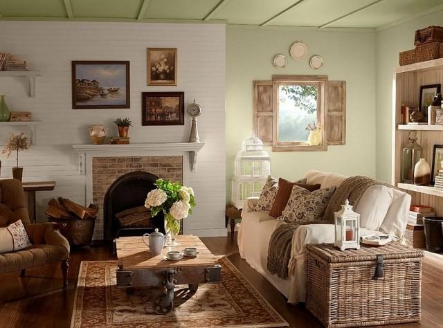déco-salon-rustique-petite-table-basse-bois-tapis-beige-marron-cheminée-briques déco salon rustique