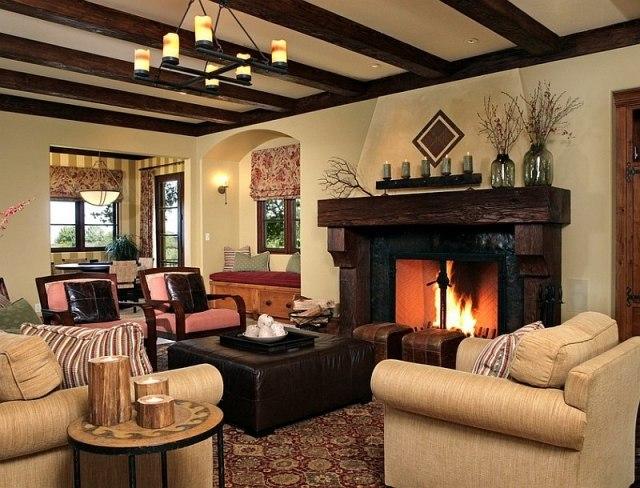 déco-salon-rustique-plafond-française-lustre-fer-forgé-ottoman-cuir-marron-fauteuils-beige-clair déco salon rustique