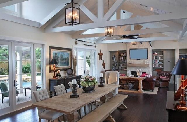 déco-salon-rustique-poutres-blanches-table-bois-banc-chaises-tapissées-lanternes déco salon rustique