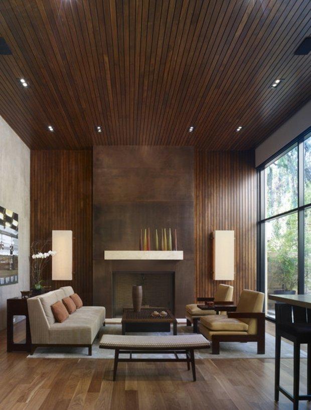 decoration moderne salon bois
