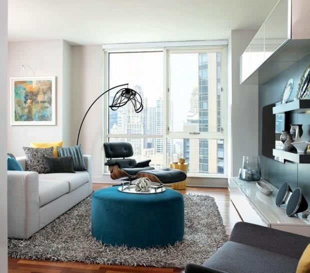 idées décoration salon gris bleu