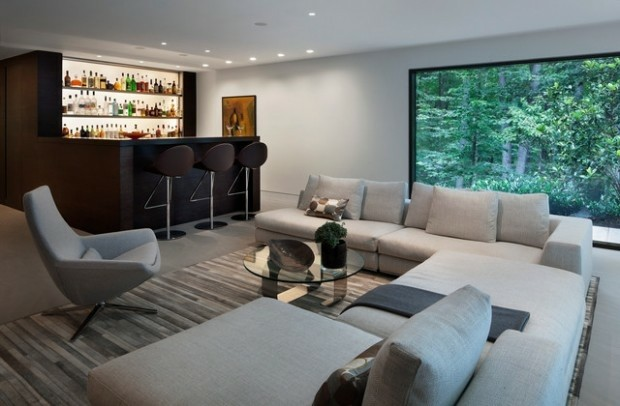 idées décoration salon bar bois