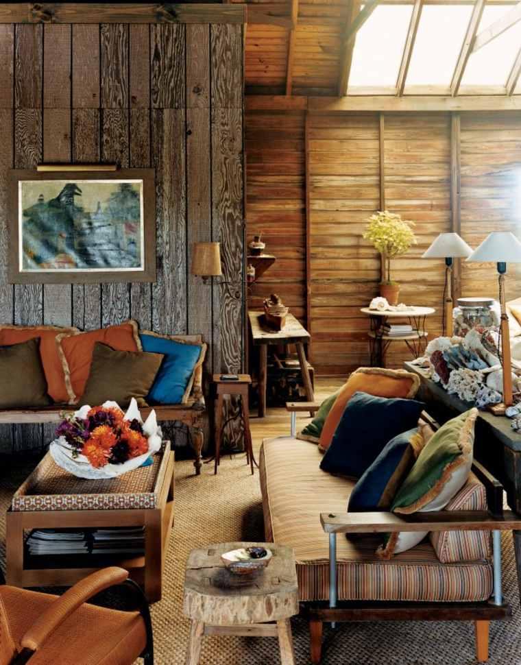 déco salon rustique bois idée canapé coussins déco